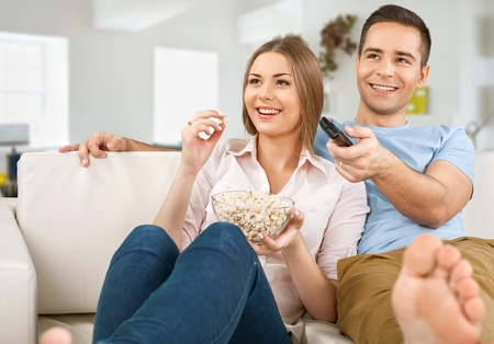watching television: Tv. Stock Photo