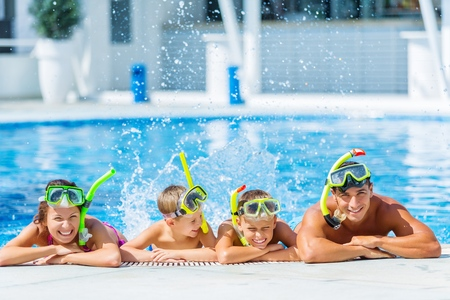 active family: Pool. Stock Photo
