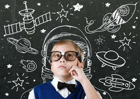 astronaut in space: Kid. Stock Photo