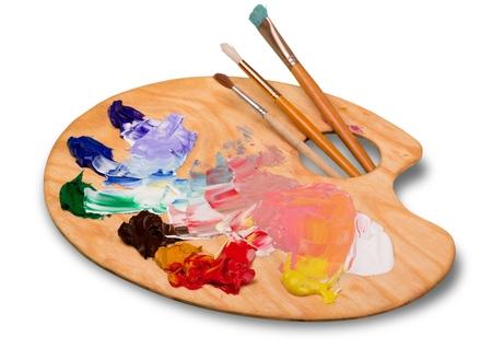 paleta: artista pintura aislado en blanco