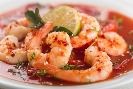 tomato sauce: Shrimp. Stock Photo