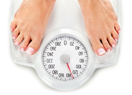 woman on scale: Weight Scale.