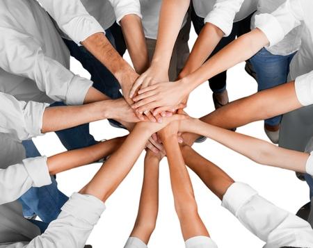 trabajando en equipo: Mano humana. Foto de archivo