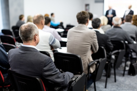 obscured: Seminar. Stock Photo