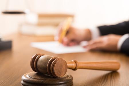 judge hammer: Judge. Stock Photo