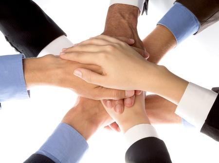 trabajo en equipo: Mano humana. Foto de archivo