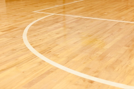 wood floor: Basketball. Stock Photo