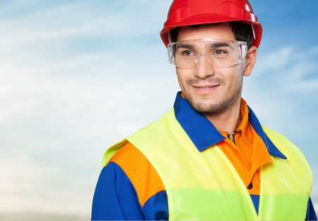 high visibility: Manual Worker. Stock Photo