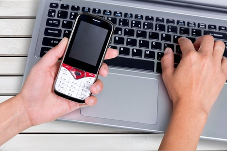 data entry: Mobile Phone. Stock Photo