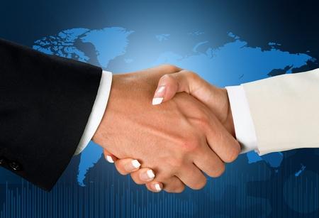 global partnership: Handshake. Stock Photo
