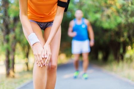 injured knee: Pain.