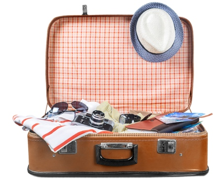 open suitcase: Travel.