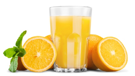 vaso de jugo: Jugo de naranja. Foto de archivo