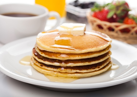 hot cakes: Desayuno. Foto de archivo