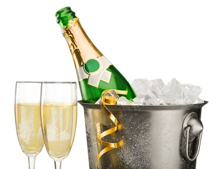 champagne bottle: New Years Eve. Stock Photo
