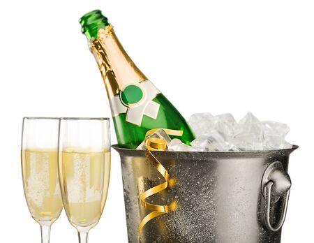 botella champagne: Nochevieja. Foto de archivo