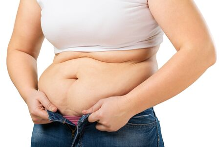 women jeans: Overweight. Stock Photo