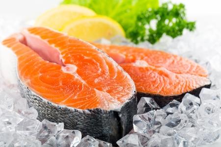 raw steak: Salmon. Stock Photo