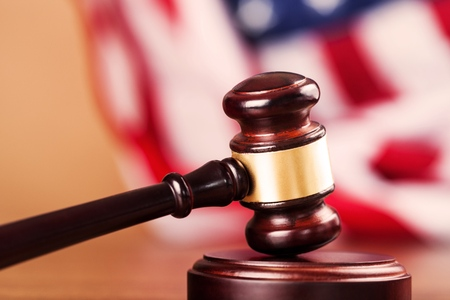 gavel: Courtroom. Stock Photo