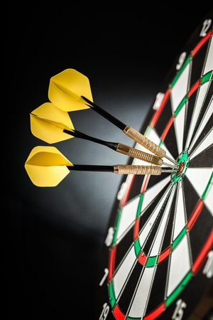 dart on target: Success. Stock Photo