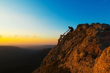 trepadoras: Escalada de montaña. Foto de archivo