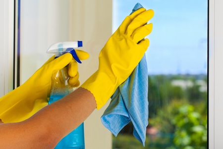 cleaning window: Cleaning. Stock Photo