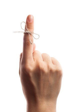 hand pointing: Reminder. Stock Photo