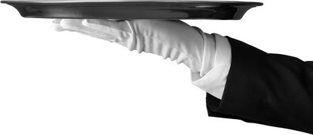 silver tray: Service. Stock Photo
