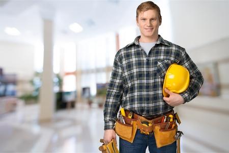 tools construction: Obrero. Foto de archivo