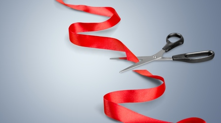 ribbon cutting: Ribbon Cutting. Stock Photo