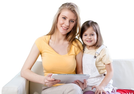 young mother: Tablet. Stock Photo