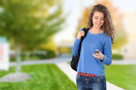 only teenage girls: Text Messaging. Stock Photo