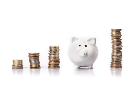 white piggy bank: Bank.