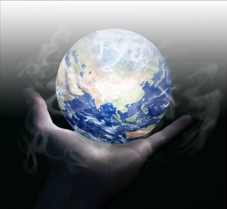 earth hands: Globe. Stock Photo
