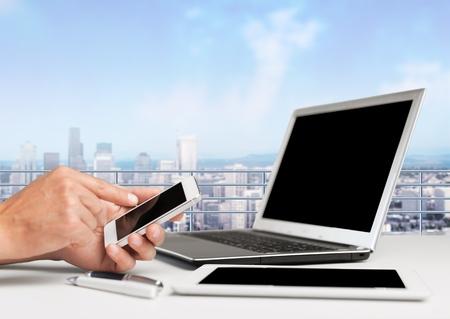 working on laptop: Laptop. Stock Photo