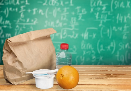 apple paper bag: Lunch. Stock Photo