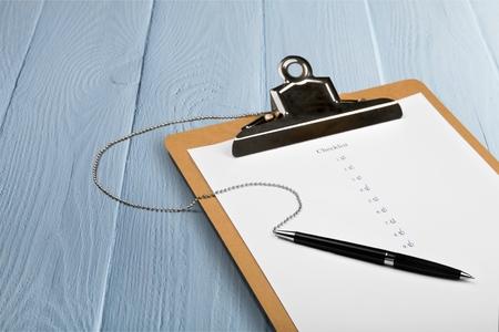 authenticate: Checklist. Stock Photo
