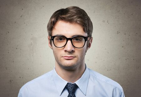 formal attire: Nerd businessman in formal attire. Stock Photo