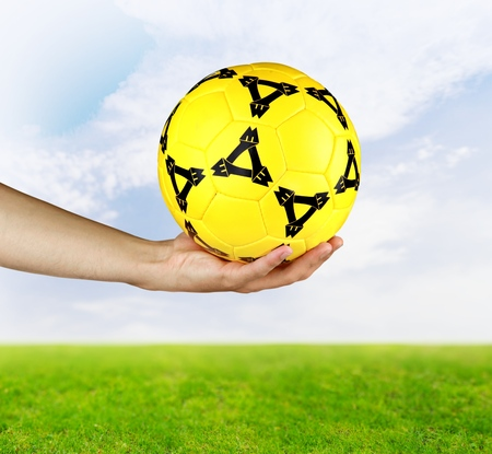 recreational pursuits: Hand Soccer Ball. Stock Photo