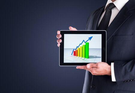winning stock: Digital Tablet showing chart