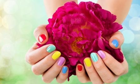 nailart: Closeup of a hand holding a flower