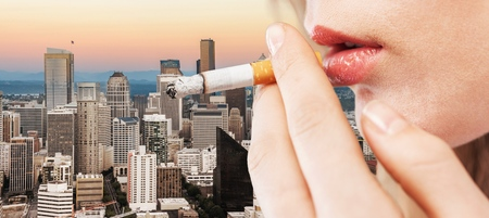 only adult: Smoking. Stock Photo