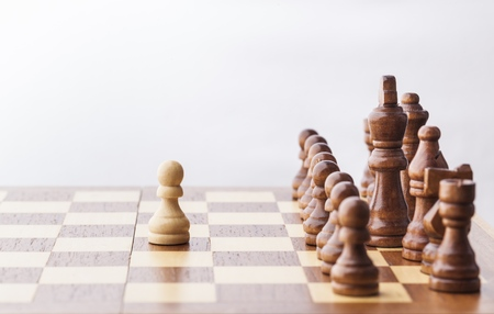 strong strategy: Chess game Stock Photo