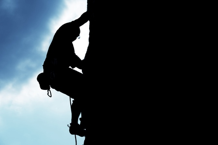 in the rock: Climbing. Stock Photo