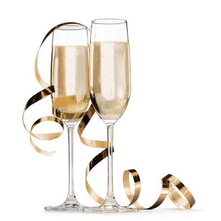 champagne flutes: Glass.
