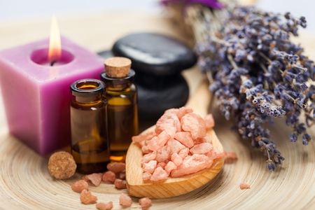 lavender oil: Lavender. Stock Photo