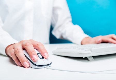 typing on computer: Computer Mouse. Stock Photo