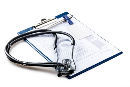 medical clipboard: Stethoscope. Stock Photo