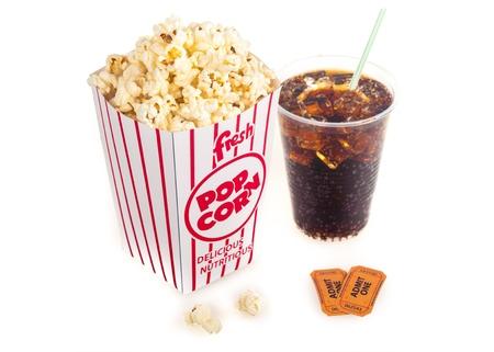 drinking soda: Popcorn.
