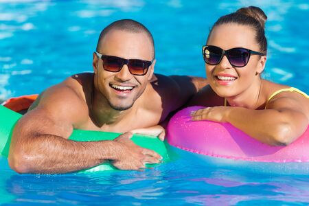 floating on water: Pool. Stock Photo